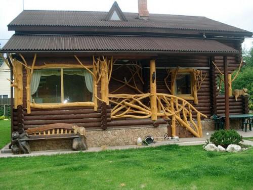 деревянные перила фото