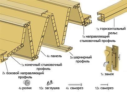 установка двери-гармошки