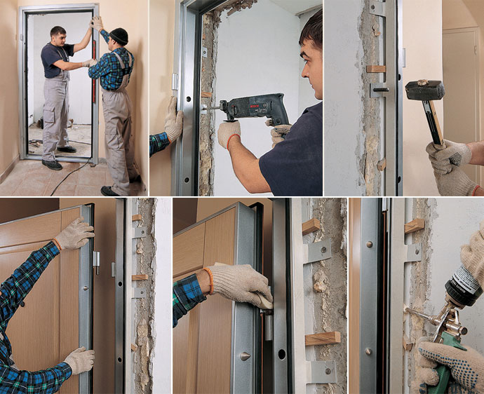 процесс монтажа входной двери